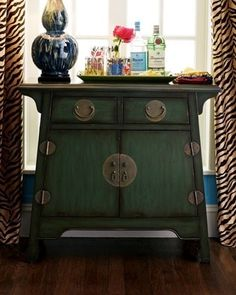 Green asian-inspired cabinet