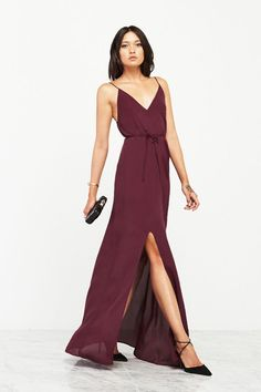 This gorgeous deep V bridesmaid dress is the  perfect shade for fall or winter