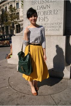 gray and white stripe with yellow skirt