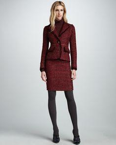 Victory Tweed Jacket, Skirt & Antonia Ribbed Turtleneck - Neiman Marcus