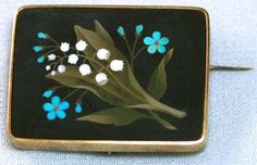 Victorian pietra dura brooch. White lily of the valley, bright blue forget me nots