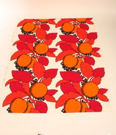 Vtg-Retro-Original-Modern-Scandinavian-70s-TAMPELLA-Art-Fabric-Finland