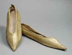 Pair of Woman's Slippers England, circa 1795-1810 Costumes; Accessories Kid leather, leather, linen Length: 10 in. (25.4 cm) each Mrs. Alice...