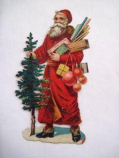 Charming  Die-Cut Victorian Santa w/ Tree and Decorations