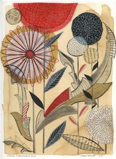 zinnias & dandelions No.1 - original collage drawing.