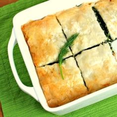 Spanakopita - phyllo pastry holding a spinach filling with leeks, dill ...