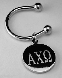 Alpha Chi Omega Sorority Greek Letter Silver Plate Disk Non Tarnish Key Ring available in Good Things From Louisiana, an ebay store.