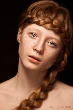 Redhead braid ekaterina shulga, redhead braid, colors, hairstyle ideas, hair beauty, braids, ginger hair, flowers, beauti face