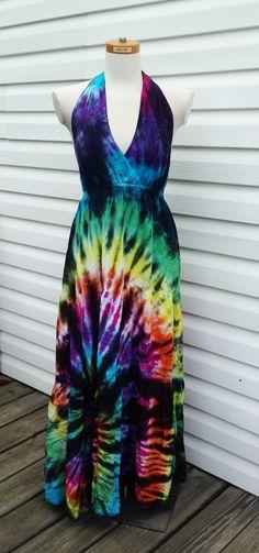SALE-Plus Size Rainbow Tie-dye Halter Top Maxi Dress on Etsy, $50.00