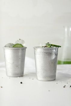 cucumber gin salt and pepper cups  //