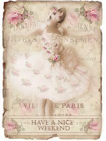 JanetK.Design Free digital vintage stuff: Old photo Ballerina and tag a good weekend