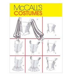 Renaissance Medieval Laced-Up Bodice Tops Corsets - Costumes, Halloween, Dress-Up  Size 10-12-14-16/Bust 32.5-34-36-38 UNCUT Sewing Pattern