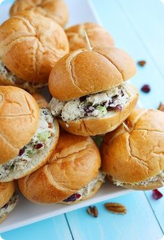 Sonoma Chicken Salad Sandwiches with Pecans, cranberries, and Parmesan