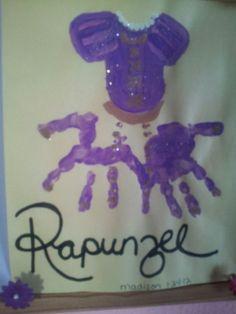 Rapunzel hand print art