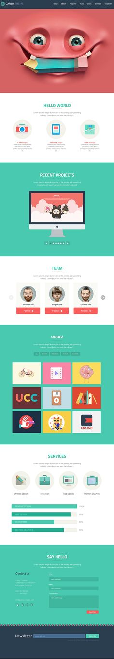 Candy - Flat Onepage Responsive HTML5 Template http://themeforest.net/item/candy-flat-onepage-responsive-html5-template/5230066?ref=wpaw #website #tempalte #html