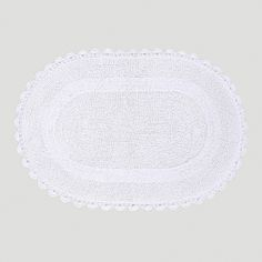 //White Oval Crochet Bath Mat | World Market