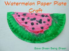 Super Easy Watermelon Paper Plate Craft Project, Toddlers and Preschoolers will love this art project