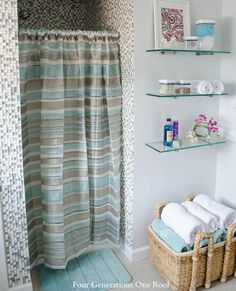 cottage bathroom refresh with Better Homes and Garden bathroom makeovers, bathroom storage, bathroom colours, small bathrooms, shelv, shower curtains, organizing bathroom, bathroom showers, cottage bathrooms
