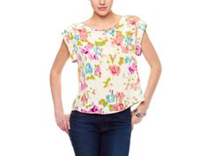 Jaloux Floral Top >> So very pretty! Could match any bottoms too! Jeans, slacks, skirts, shorts!