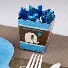 Boy Elephant - Personalized Birthday Party Candy Boxes