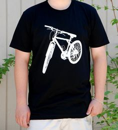 White Bike on Black      #bicycle #Tshirt #tee #shirt #fashion #clothing  #black #white #american #apparel #gift $17.00   http://www.etsy.com/shop/FullSpectrumClothing