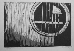 Singleblock reduction linocut print guitar by VideoUnit12 on Etsy