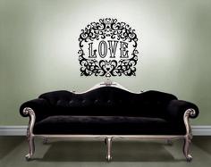 DIY Valentines day decor with designer wall art by Jonathan Adler for WallPops velvet love wall decal black velvet couch