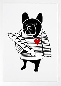 FRENCH BULLDOG - france - dog print - Frenchie - Bouledogue Francais - art print by nicemiceforyou. $20.00, via Etsy.