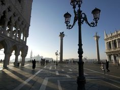 Piazza San Marco, Venice's famous landmark, is delightfully quiet in the early morning.