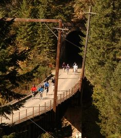 The Hiawatha trail, built atop a former railway, also features 10 covered tunnels along its 15-mile route.   (Courtesy Skilookout) From: Beautiful Paths of the World.