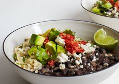brown rice, black beans, chile salsa, meal prep, bon appetit, food, gingers, ginger chile, salsa recipes