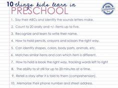 what preschoolers learn before kindergarten