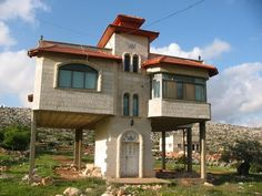 A house built on stilts in Bruqin to avoid paying taxes, which Palestinians must pay according to square footage on the ground.