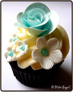 Aqua & Yellow sweet, beauti cupcak, beauti cake, chocolate cupcakes, hello sugar, cupcak sabonet, floral cupcak
