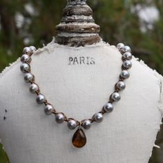 topaz pearl, pearl leather necklace, amber topaz, pearls, necklaces, 18500, pearl ring