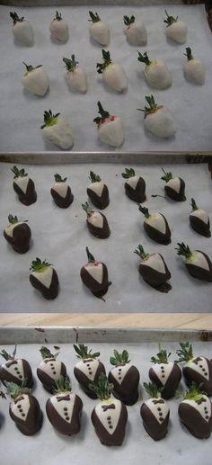 Tuxedo Chocolate Strawberries Tutorial#chocolate #strawberries #wedding #weddings #tuxedo #recipe #diy