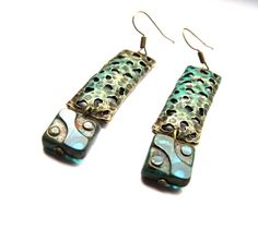 Vintage patina earrings with antique brass by agatechristina, $21.00