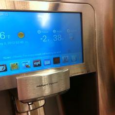 Shut the front door!!!! This Samsung Fridge has Twitter in the door!!!!!