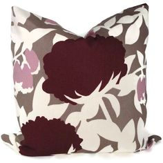 Duralee Plum and Lilac Floral Decorative Pillow Cover by PopOColor, $45.00