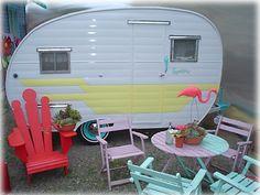 chair, vintage trailers, firebal roadmast, color, vintag travel