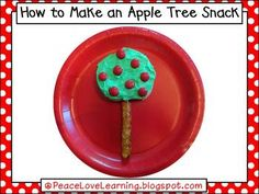 foods, appl tree, snack recipes, food coloring, bagels, recipe books, johnny appleseed, cream, johnni applese