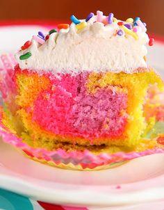 neon rainbow cake, rainbow cupcakes