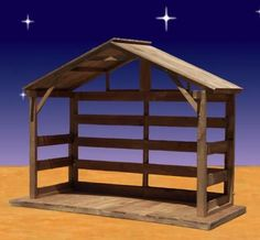 "Wood Outdoor Nativity Stable 70H. Made of White Pine for large Nativity sets up to 54""H. $649.00 Made in the USA! http://www.christmasnightinc.com/c108/Wood-Outdoor-Nativity-Stable-70H-p928.html#"