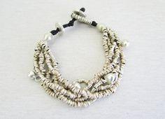 African Silver Beaded Bracelet Ethiopian Ethnic by BlueMargarita