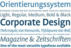 Type Directors Club 2000 Winner FF Profile – zeitlose Allrounder-Familie mit fünf Schriftschnitten (Light bis Black), passenden Kursiven, neun (!) Ziffernsätzen und fünf (!) Sätzen von Pfeilen von Martin Wenzel http://www.fontshop.com/search/?q=profile