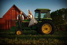 Couple on a tractor | Red Barn Wedding | Sedalia, Colorado Wedding | Selah Photography | Storytellers Events http://www.storytellersevents.com/blog/colorado-wedding-at-the-cherokee-castle-ranch/