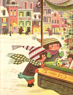 Illustrator: Lowell Hess    Book: My Christmas Treasury    Story: The Penny Walk    Publisher: Simon And Schuster 1957