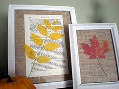 Frames with leaves, book pages and burlap