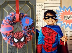 Love all the details from this awesome spider man cupcake liner wreath to the dessert table!
