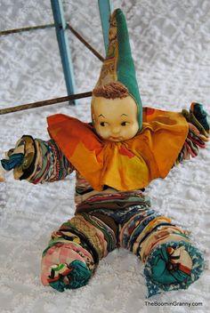 Vintage Fabric Yo Yo Clown Doll Sweet-NOT-Creepy